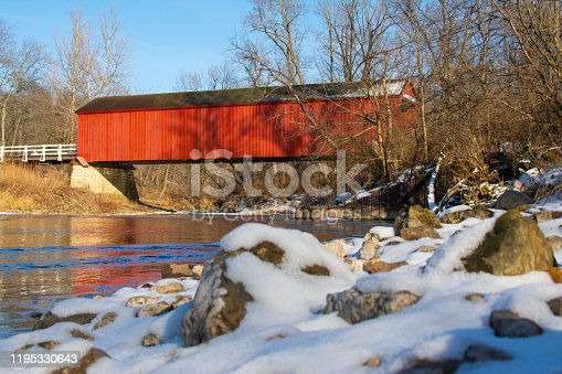 Red Covered Bridge on a beautiful Winter day.  Bureau County, Illinois, USA