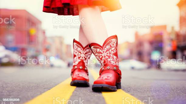 Red cowboy boots worn by cowgirl in matching dress picture id988386898?b=1&k=6&m=988386898&s=612x612&h=bfb0qyfl9uplucztnnveewq1gclcuo k9dxqigeulbe=