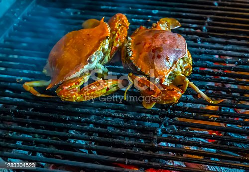 Red crab cooked on a Hot Barbecue Grill