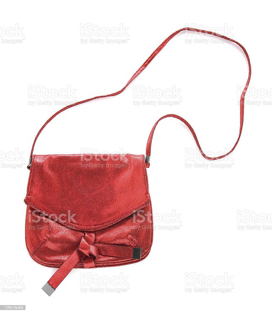 Red crackle metallized leather purse stock photo