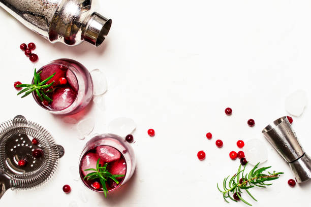 Red cranberry cocktail with ice, rosemary and vodka stock photo