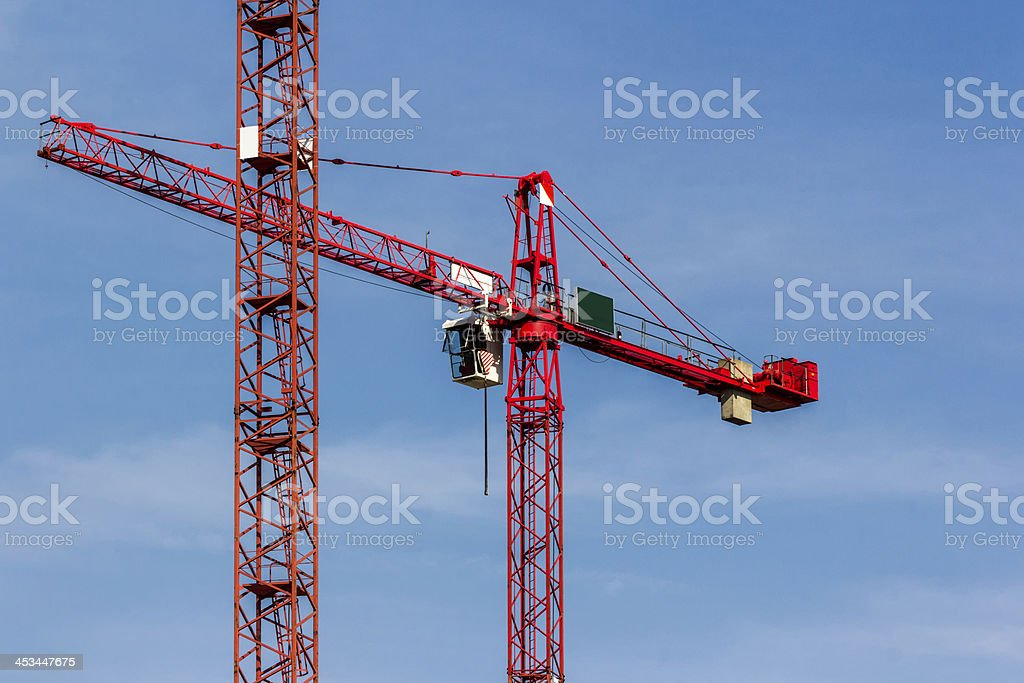 Red Crane on Blue Sky royalty-free stock photo