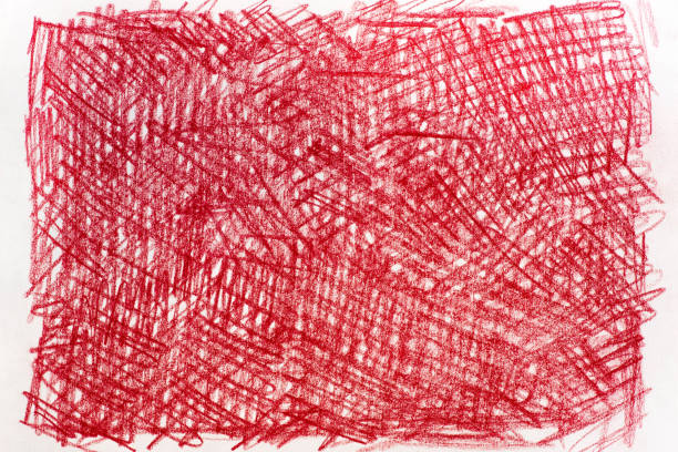 rote kreide-zeichnungen auf papier hintergrundtextur - scribble stock-fotos und bilder