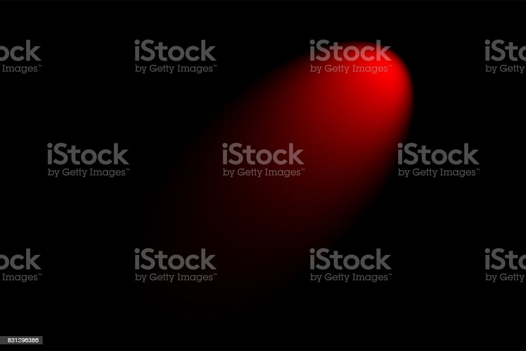 Red creative abstract, spotlight isolated on black background stock photo