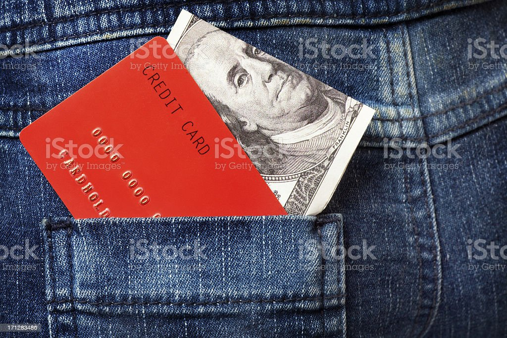 "Red Credit Cards and Dollar Note in the Jeans Pocket. ""Close-up of Red Credit Card and One Hundred Dollar Note in the Pocket of the Jeans. Please, view my other pictures of this topic below:"" American One Hundred Dollar Bill Stock Photo"