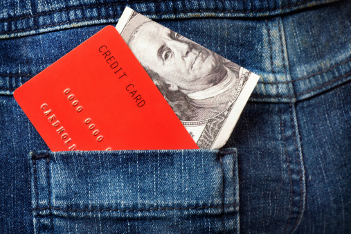 Red Credit Cards And Dollar Note In The Jeans Pocket Stock Photo - Download Image Now