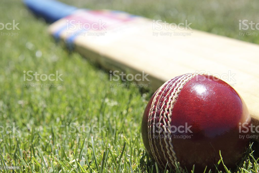 Red cricket ball and paddle laying in the grass stock photo