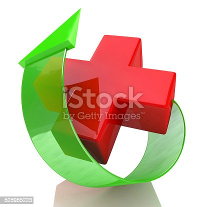 istock red cross and arrow 525955223