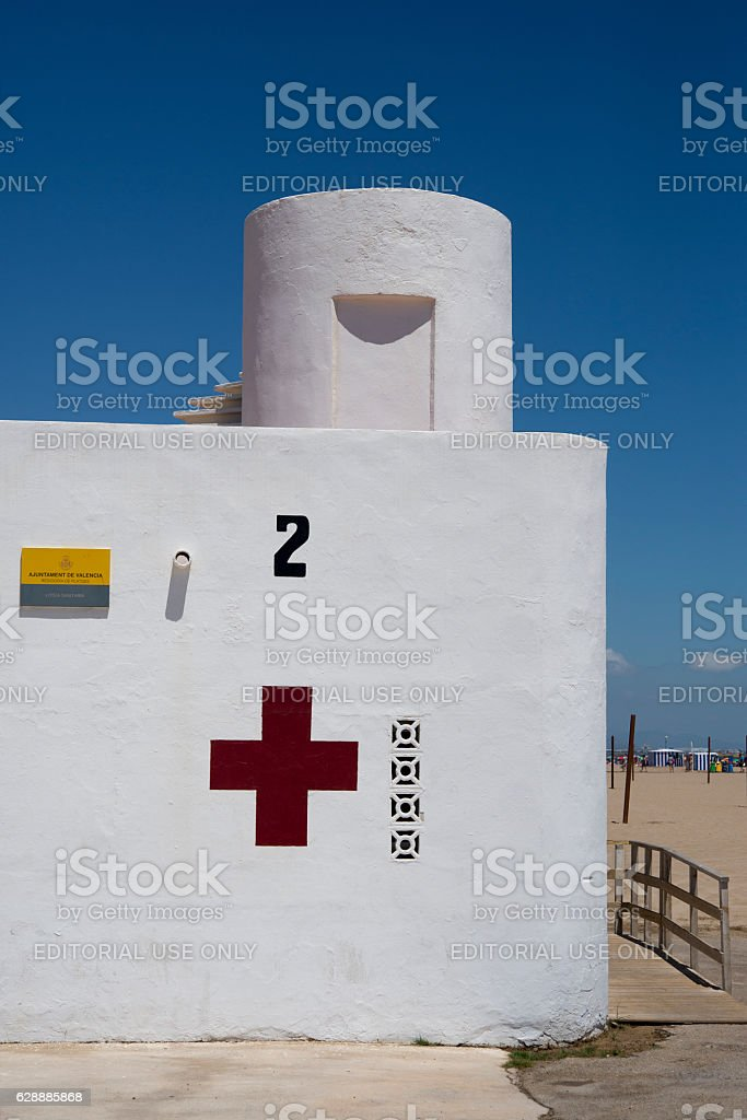 Red Cross First aid beach hut on valencia beach Spain stock photo