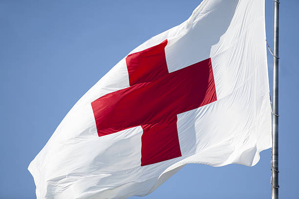 Red Cross Flag stock photo