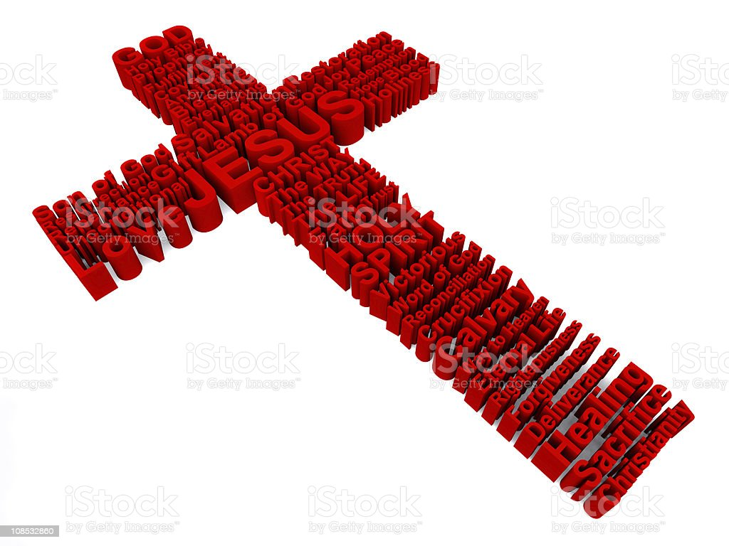 Red Cross made up of 3D words royalty-free stock photo