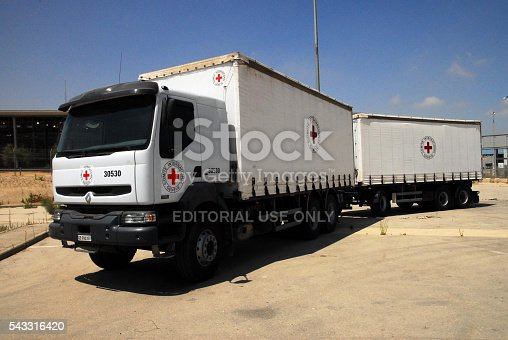 istock Red cross medical supply truck 543316420