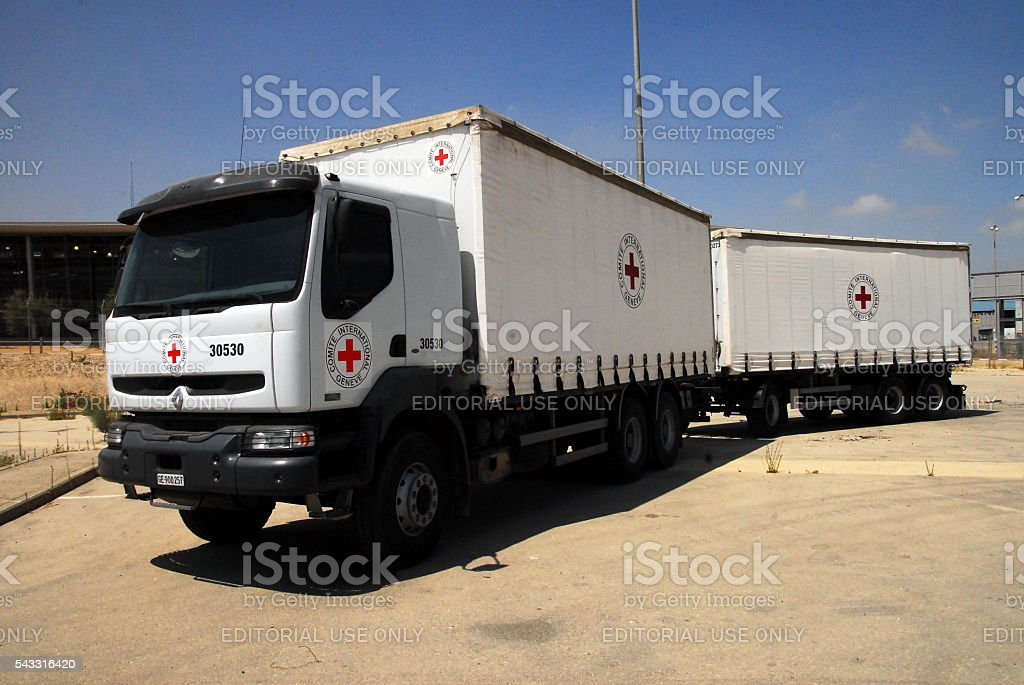 Red cross medical supply truck stock photo