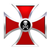 Red cross with skull and crossbones isolated on white