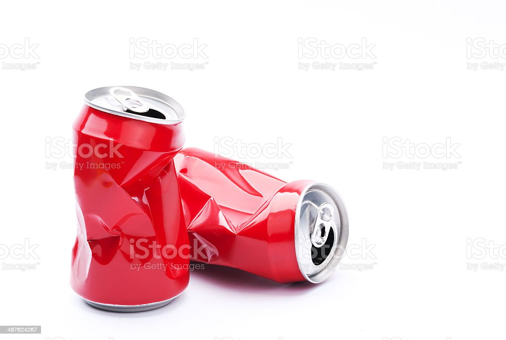 Red crushed cans stock photo