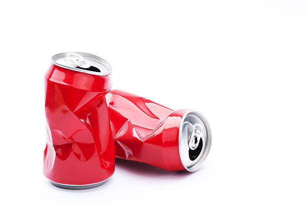 red crushed cans - crush stock pictures, royalty-free photos & images