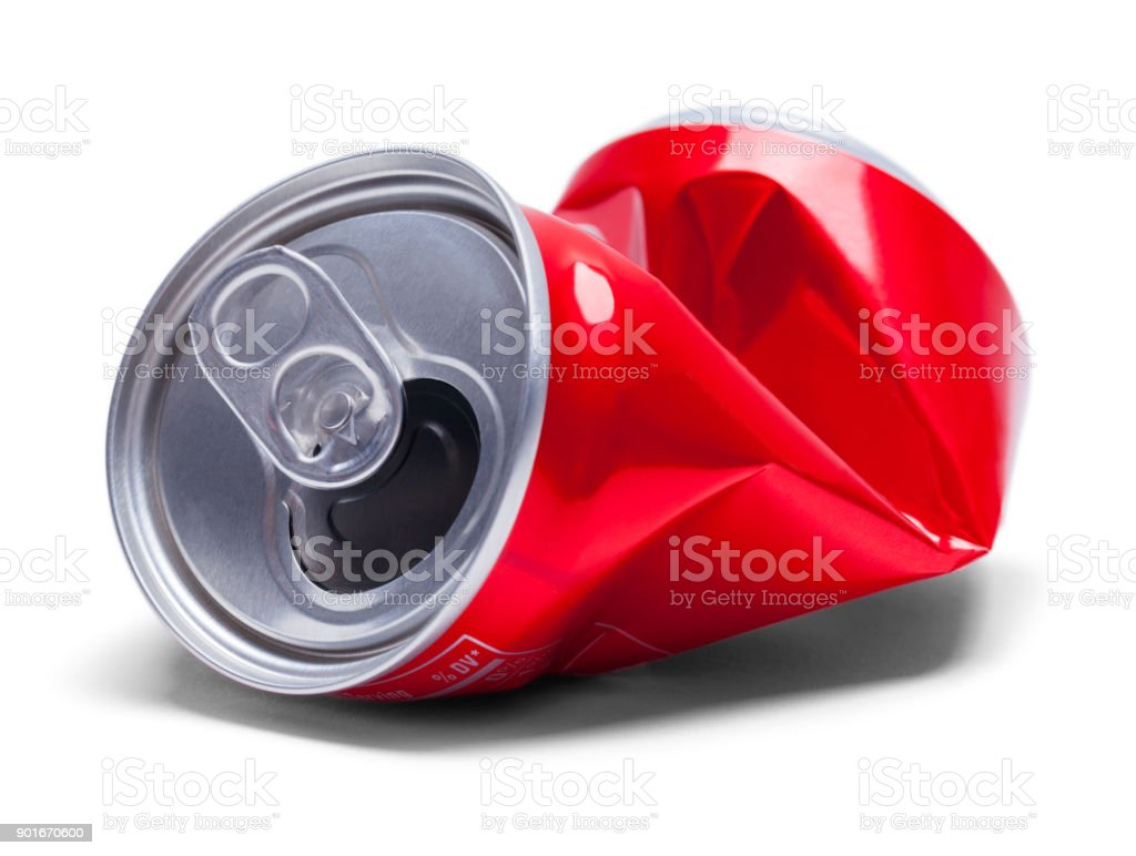 Red Crushed Soda Can stock photo