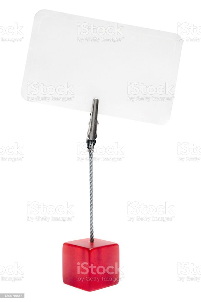A red cube memo holder on a white background stock photo