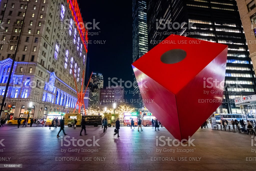 Red Cube steel cuboid public sculpture in New York City - Royalty-free Architecture Stock Photo