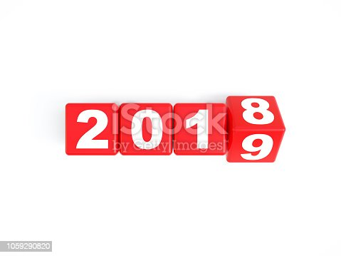 968874704istockphoto Red Cubes are Rolling From 2018 to 2019 1059290820