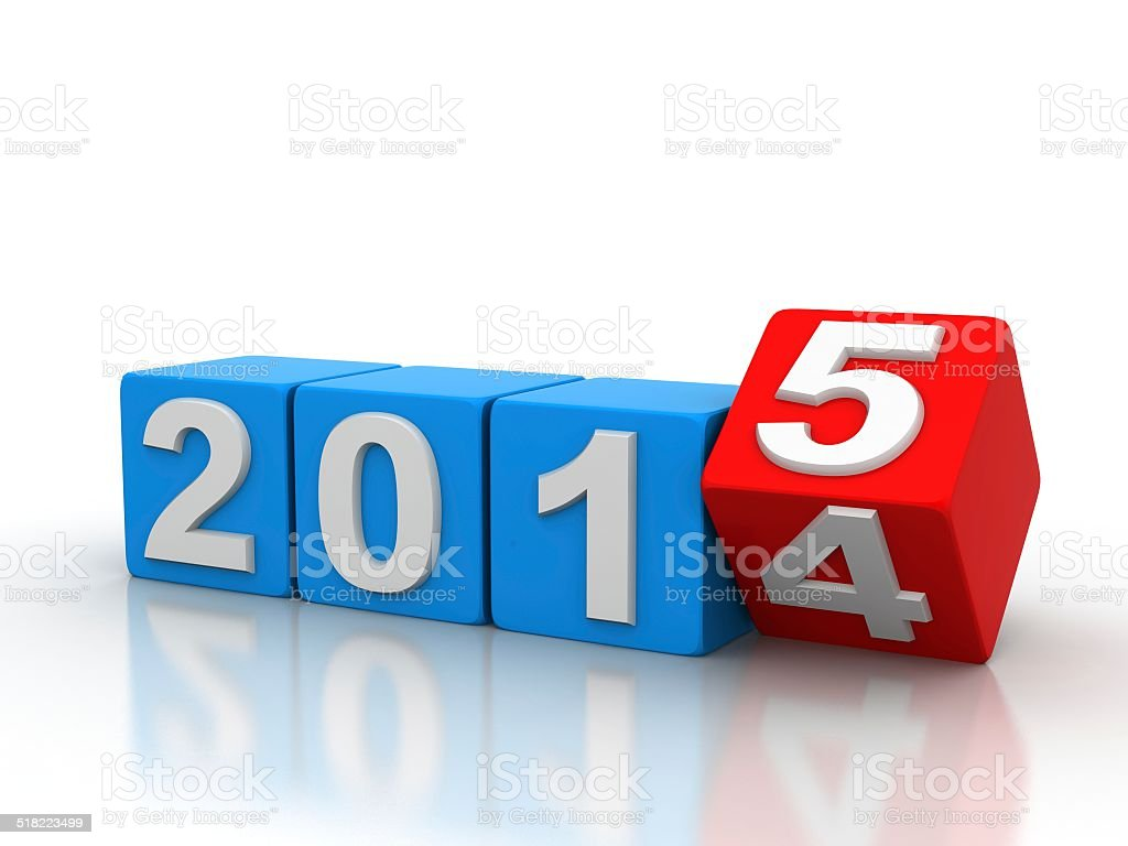 Red Cubes Happy New Year 2015 stock photo