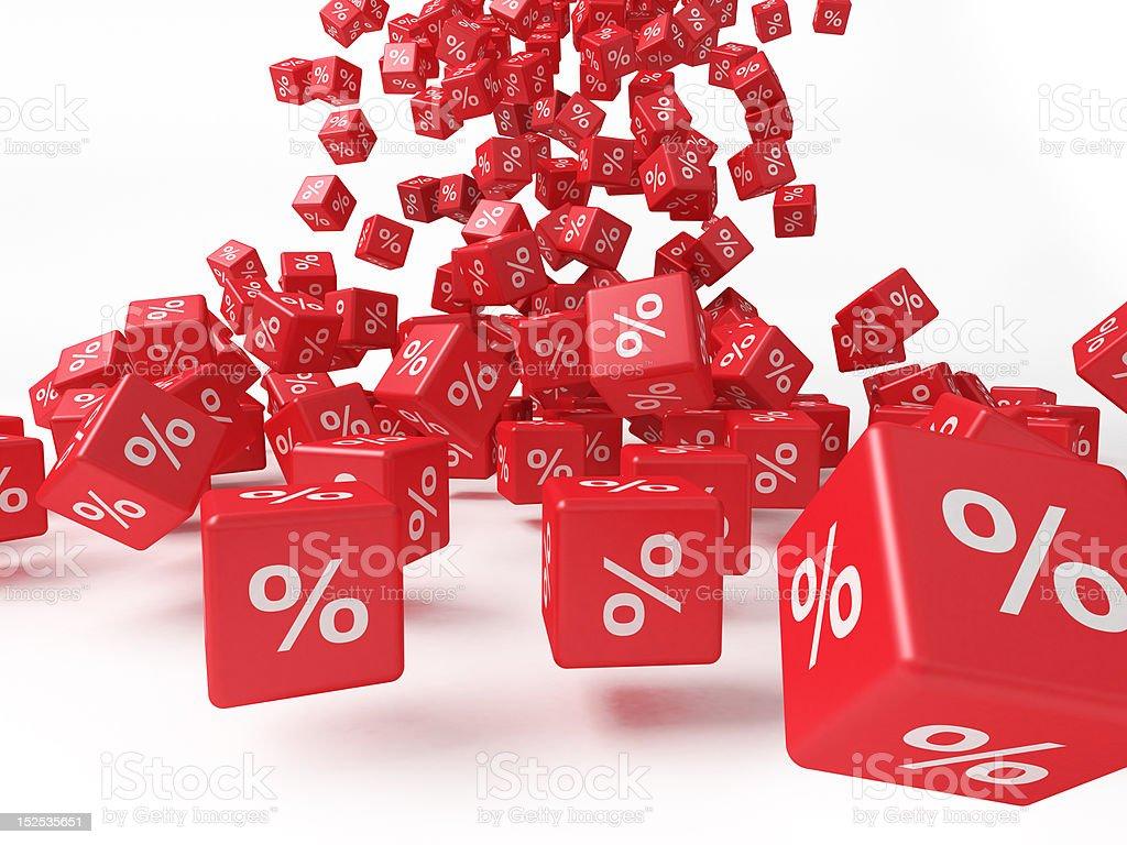 Rote Würfel mit Prozent - Lizenzfrei Ausverkauf Stock-Foto