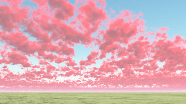 Red cumulus clouds Red cumulus clouds above horizon saturated color stock pictures, royalty-free photos & images