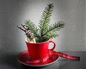 istock Red cup decorated for Christmas 494544364