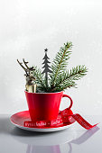 istock Red cup decorated for Christmas 494573026