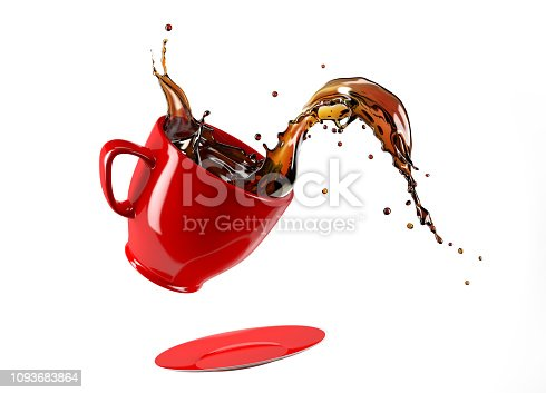 istock Red cup mug and saucer jumping with coffee splash. Isolated on white. 1093683864