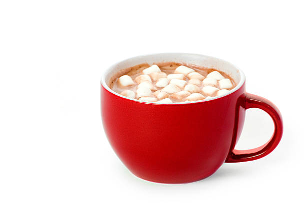 red cup of cocoa - hot chocolate stock photos and pictures