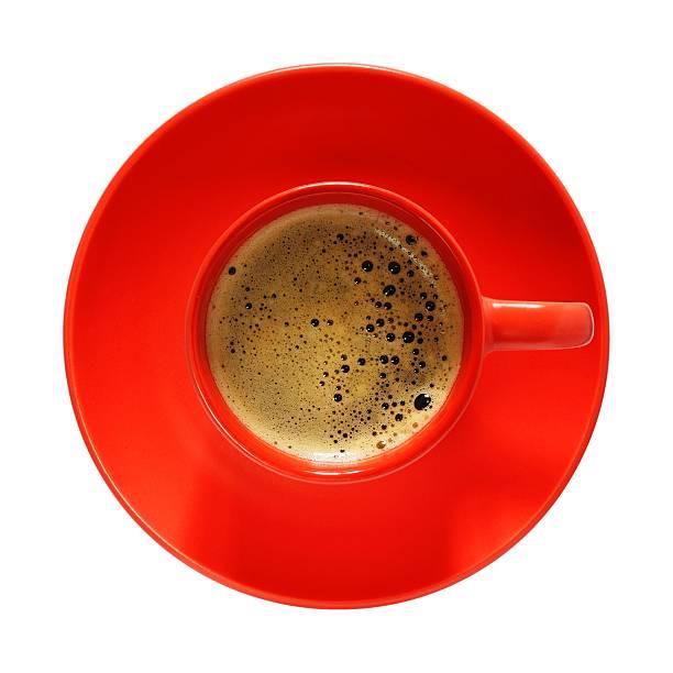 rote tasse kaffee - rotes oberteil stock-fotos und bilder