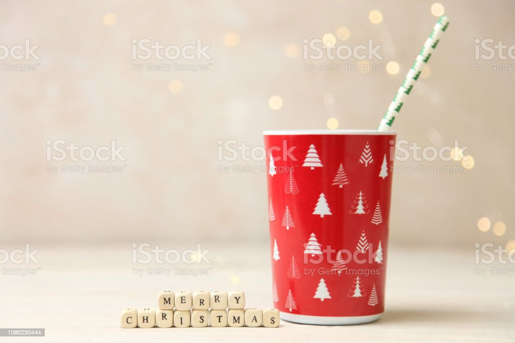 Red cup with cocktail tube stock photo