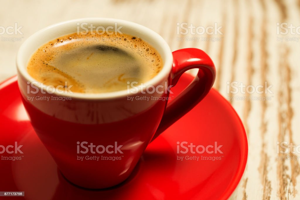 Red cup with espresso coffee stock photo