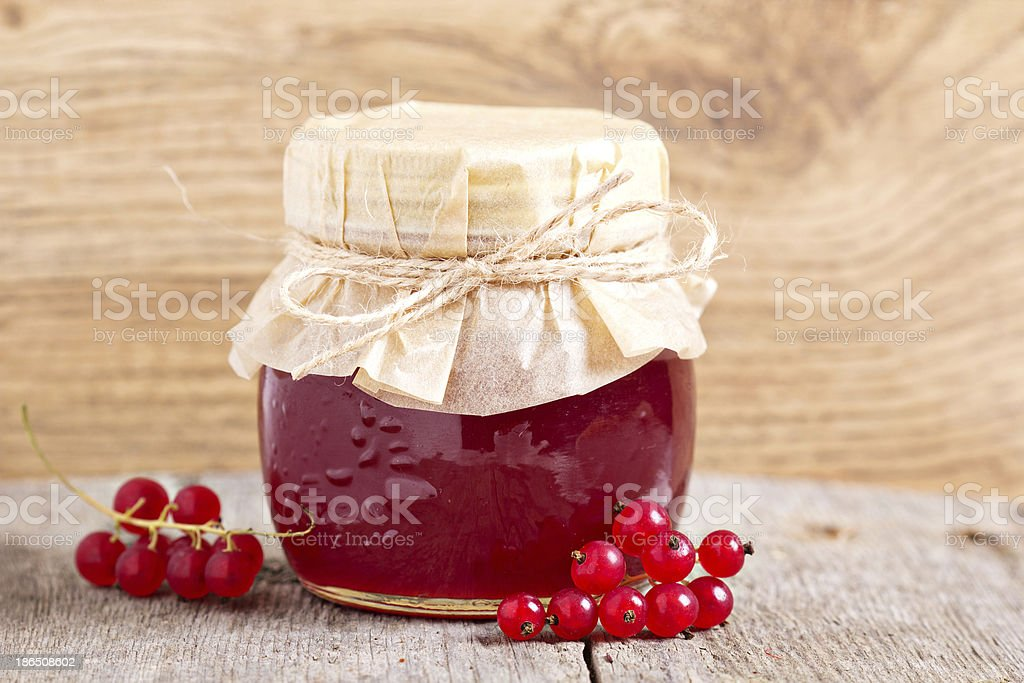 Red currant jelly in a jar royalty-free stock photo