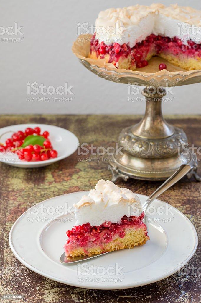 Red currant meringue tart stock photo