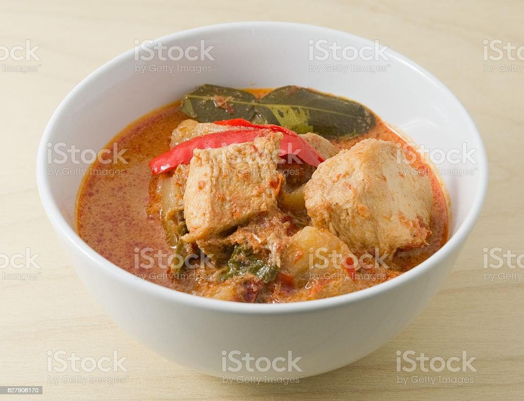 Red Curry with Coconut Milk and Vegetarian Ingredients stock photo