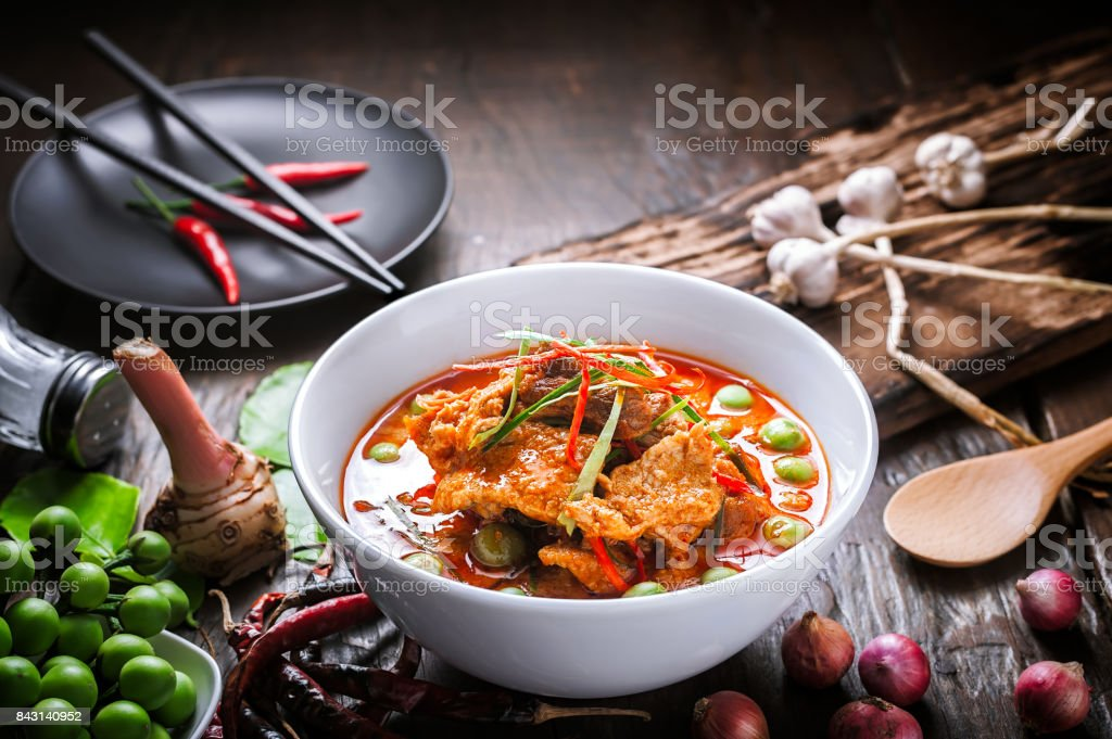 Red curry with pork and coconut milk. stock photo