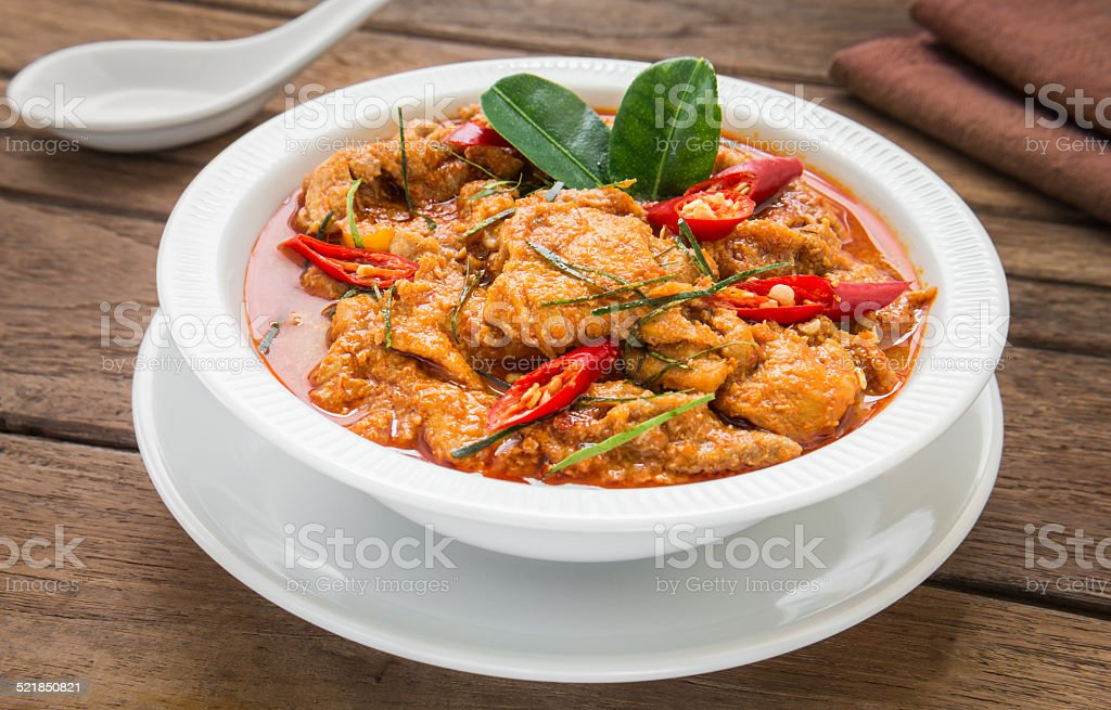 Red curry with pork and coconut milk (Panaeng), Thai food stock photo