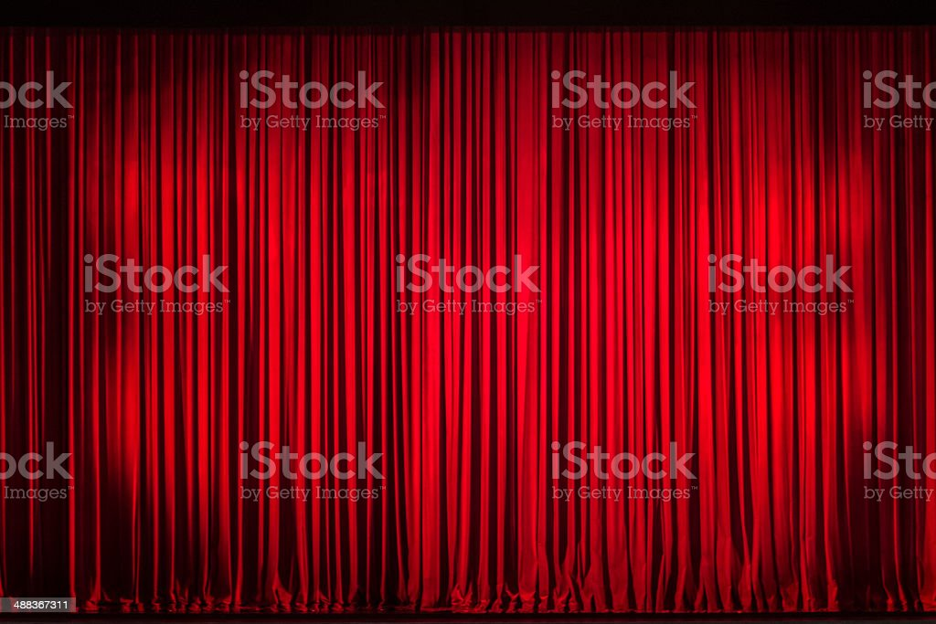 Red Curtain Backdrop stock photo
