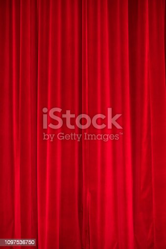 Germany: Full frame of a red curtain.