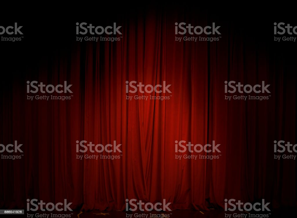 Red Curtain in the theater stock photo