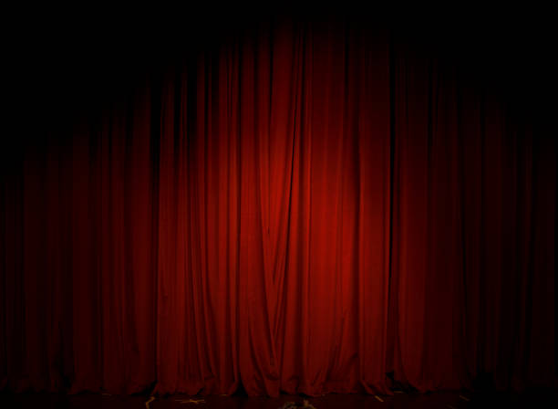 red curtain in the theater - curtain stock pictures, royalty-free photos & images