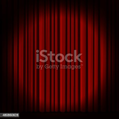 istock Red curtain in theater. 480860628