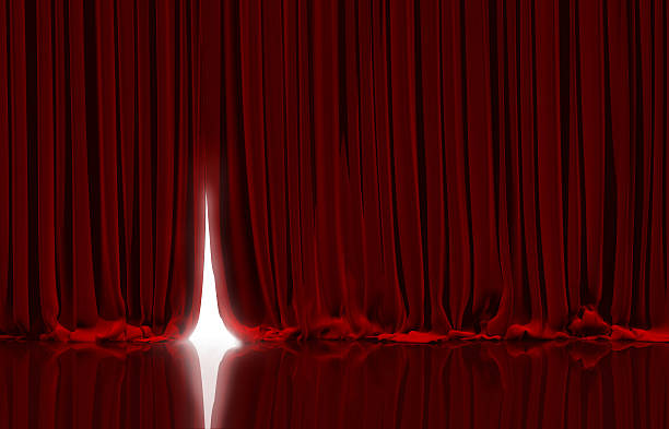 red curtain in theater. - curtain stock photos and pictures