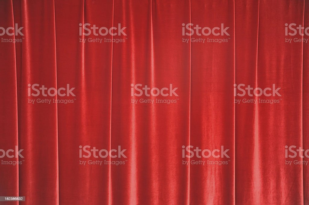red curtain in theatre stock photo