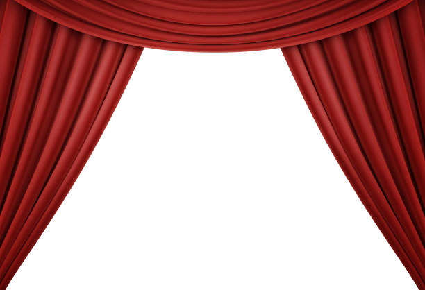 Red curtain of a classical theater isolated on white background. 3d render stock photo