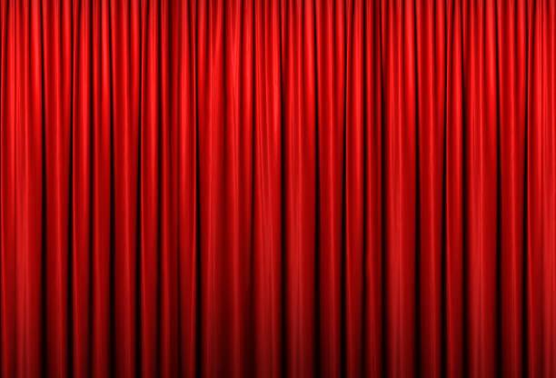 red curtain of stage, 3d illustration - sipario foto e immagini stock