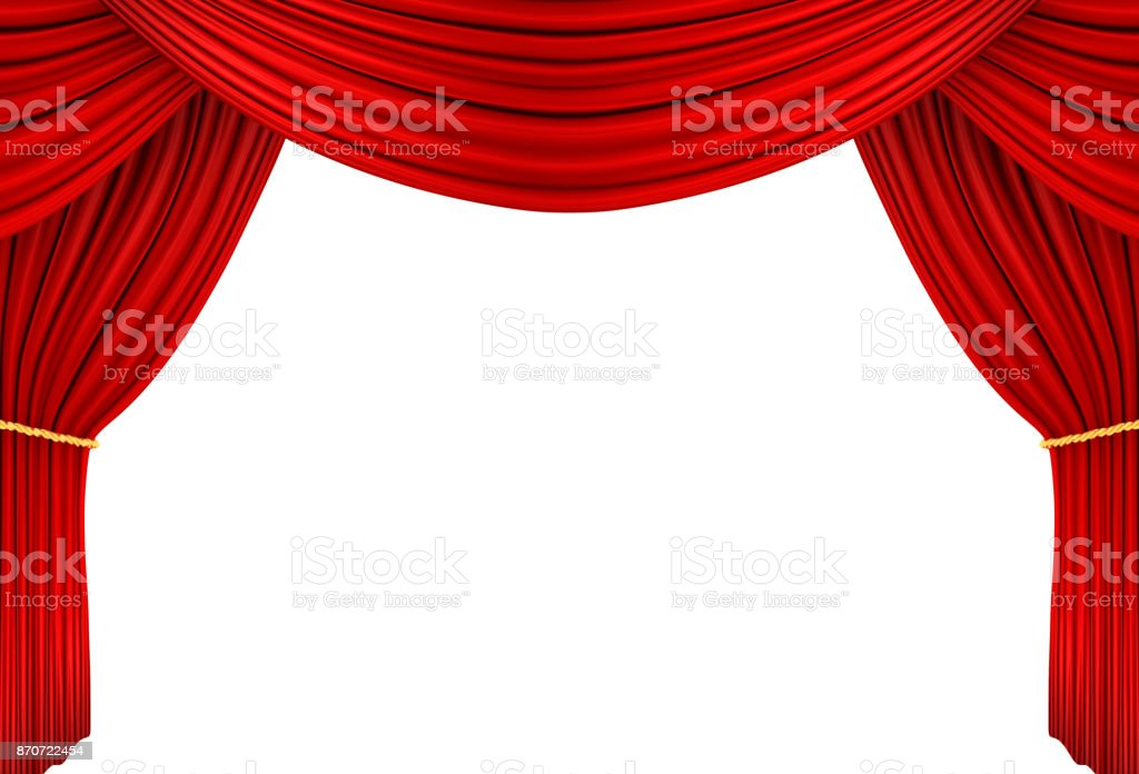 red curtain of stage, 3d Illustration stock photo