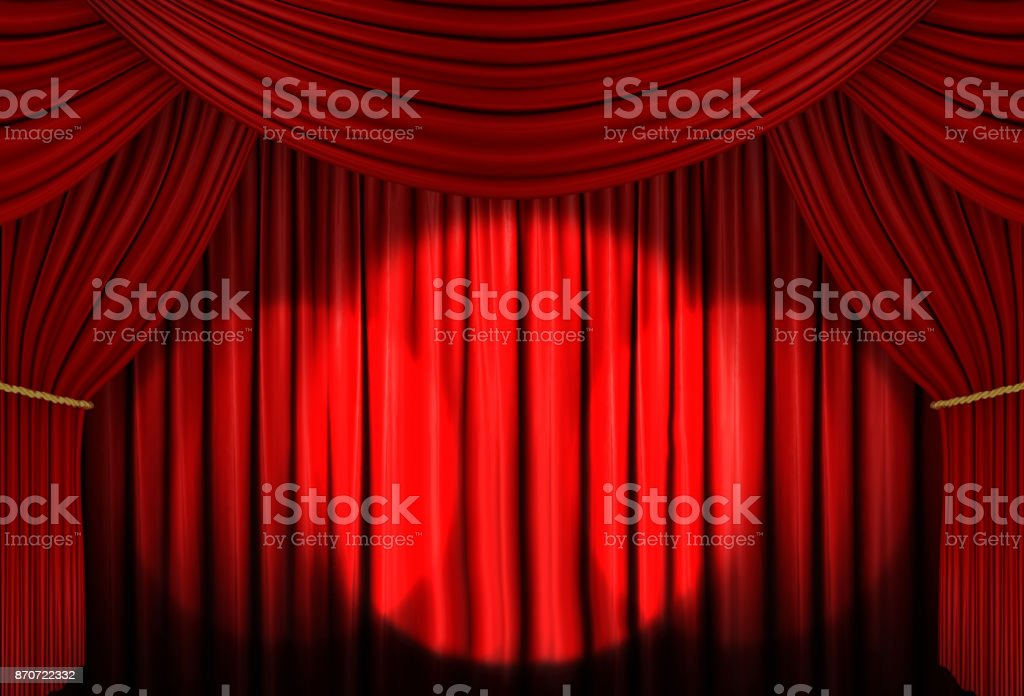 red curtain of stage with spot light , 3d Illustration stock photo